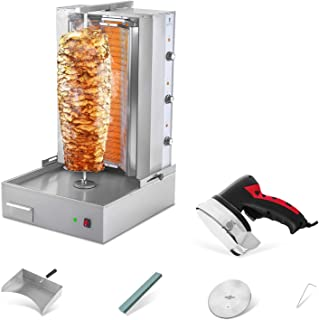 Royal Catering RCEK-SET1 Asador Kebab Profesional con Cuchillo Eléctrico (6.000 W/ 400 V, 3 Zonas Calefactoras / 6 Elementos, Cuchillo 80 W / 3.200 rpm, Piedra Refractaria) Acero Inox