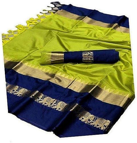 Blue Wish Women s Banarasi Cotton Saree With Contrast Blouse Piece