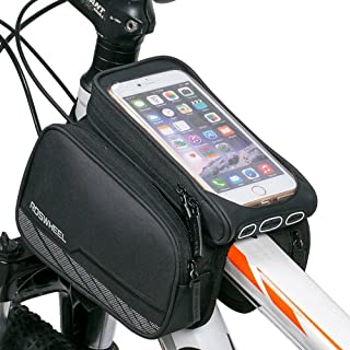 Cycling Frame Pannier Cell Phone Bag, WOTOW Bike Front Top Tube Touchscreen Saddle Bag Rack Mountain Road Bicycle Pack Dou...