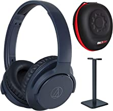 Audio-Technica ATH-ANC500BTNV Quietpoint Bluetooth Noise-Cancelling Headphones Pro Bundle Navy