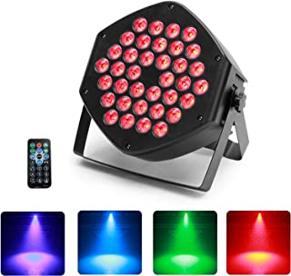 UKing 36 LED Par, 3 en 1 RGB LED Luz de Escenario Par, 25 ° Ángulo de luz, Efecto Mágico de Color con Control remoto Control de sonido DMX 7CH para DJ Club Show de Fiesta