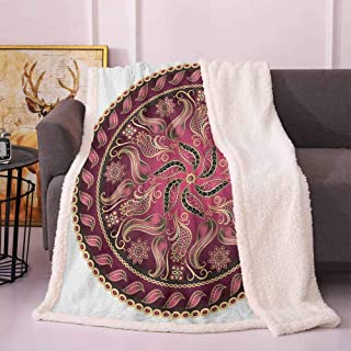 Sherpa Throw Blanket Vintage Pattern Higher Level of Balance Eternity Spiritual Life Concept Winter Blankets Wine Red Gold 50