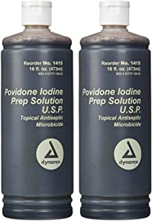 Povidone Iodine Prep Solution USP, 16 Fluid Ounce (2- Pack)