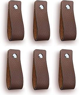 Tiradores de Cuero | Gris Pardo / 6 piezas | 16,5 x 2,5 cm
