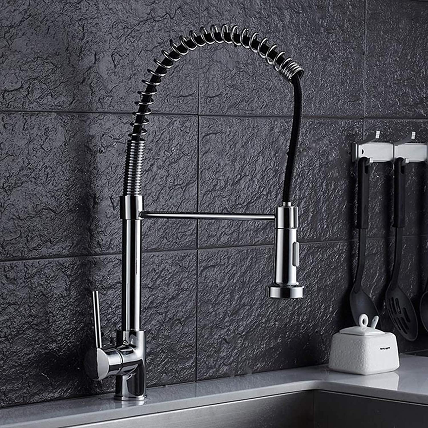 FZHLR Kitchen Faucet Single Handle Swivel Mixer Tap Chrome∕Brushed Nickel Faucet Pull Out Torneira 2-Function Water Outlet Mixer Tap,Chrome
