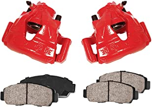 CCK11814 [2] FRONT Powder Coated Loaded Red Caliper Assembly + [4] Quiet Low Dust Ceramic Brake Pads + Pad Sensors Kit