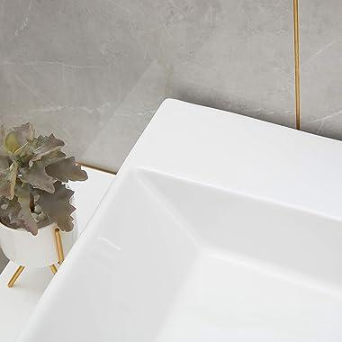 PetusHouse Bathroom Vessel Sink and Pop Up Drain Combo, Rectangle Above Counter White Porcelain Ceramic Bathroom Vessel Vanit