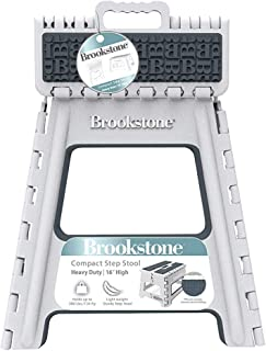 Brookstone BKH1119 16� Folding Step Stool for Adults, Non-Slip Textured Grip Surface, Foldable Space Saving Design, Carrying Handle, Holds Up to 300 Pounds, for Kitchen and Rest of Home