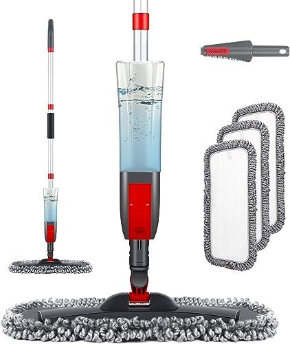 Homgif Fregona Mopa con Pulverizador, Spray Mop 450 ml Mopas de Limpieza Suelos, Fregona Microfibra para el Hogar, Co...