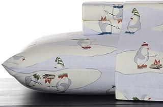 Eddie Bauer Skating Penguins Sheet Set, Queen, Blue Sky