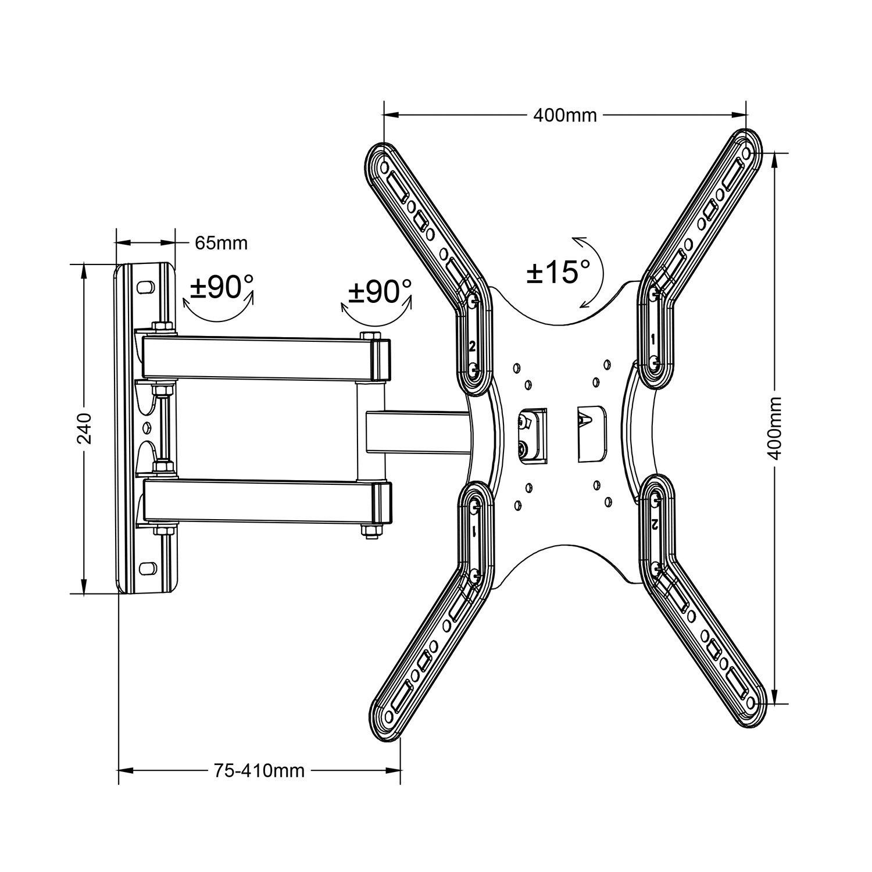 Maclean MC-759 Soporte de Pared para Monitor o Pantalla LCD/LED TV 13-55
