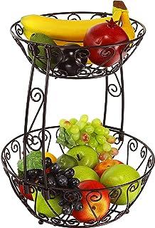 GZZX 2-Tier Countertop Fruit Basket Bowl Storage, Bronze