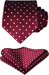 Men's Plaid Dots Tie Woven Classic Necktie & Pocket Square Set