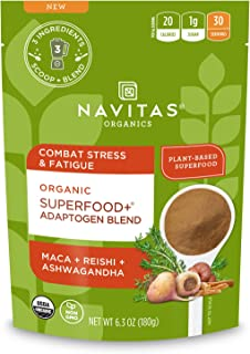 Navitas Organics Superfood+ Adaptogen Blend for Stress Support (Maca + Reishi + Ashwagandha), 6.3oz Bag, 30 Servings — Org...