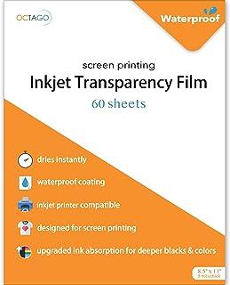 $24 » Octago Waterproof Inkjet Transparency Film for Screen Printing (60 Pack) Transparency Paper for Inkjet Printers - Print Co...