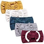 Baby Girl Nylon Headbands Newborn Infant Toddler Hairbands and Bows Child Hair Accessories (AM021-5pcs)