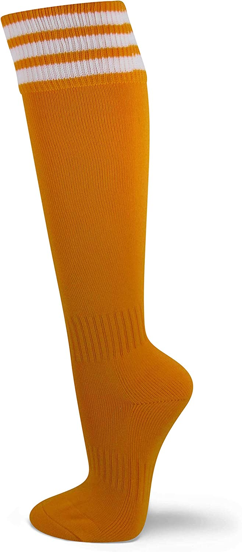 Couver Unisex Knee High Triple Stripe Youth Athletic Nylon Soccer Tube Socks