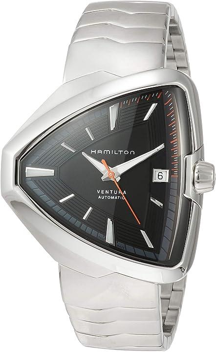 Orologio hamilton men`s steel bracelet & case automatic black dial watch h24555131