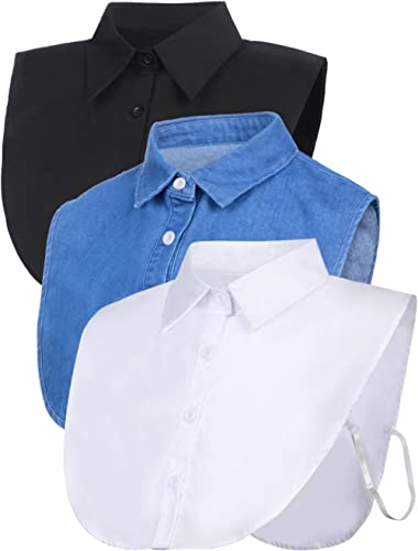 SATINIOR 3 Pieces Collar Detachable Dickey Collar Blouse Half Shirts Collar (White/Black/Blue)