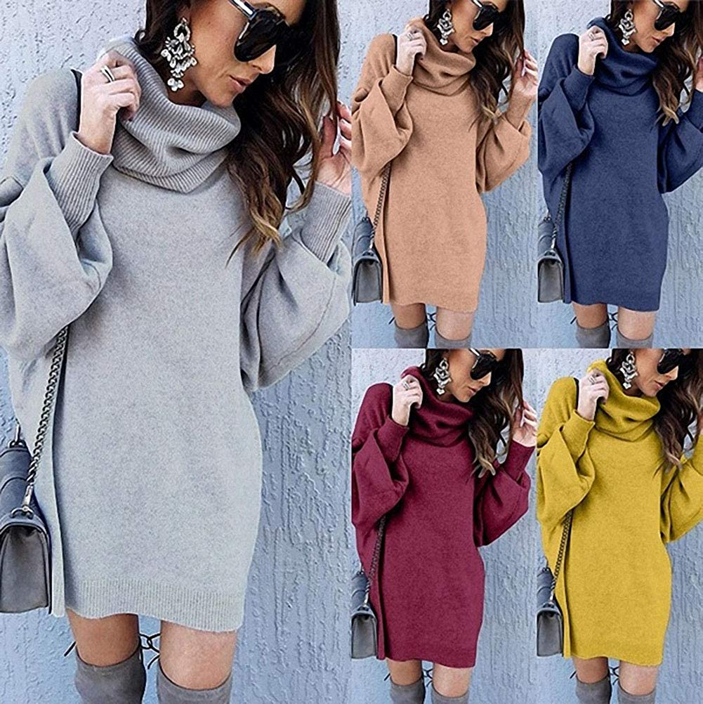 5200 Femmes Tricot Fin Pull Robe Tricot Pull Long Mini-robe manches trompettes