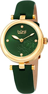 Burgi Women's Bur197Gn Diamond Accented Flower Dial Yellow Gold & Green Leather Strap Watch, Analog Display