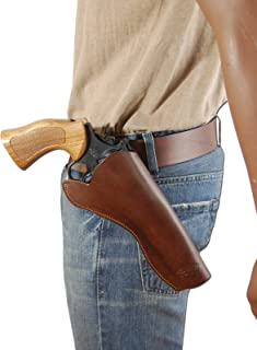 Barsony New Brown Leather Cross-Draw Gun Holster for 6 inch Revolvers