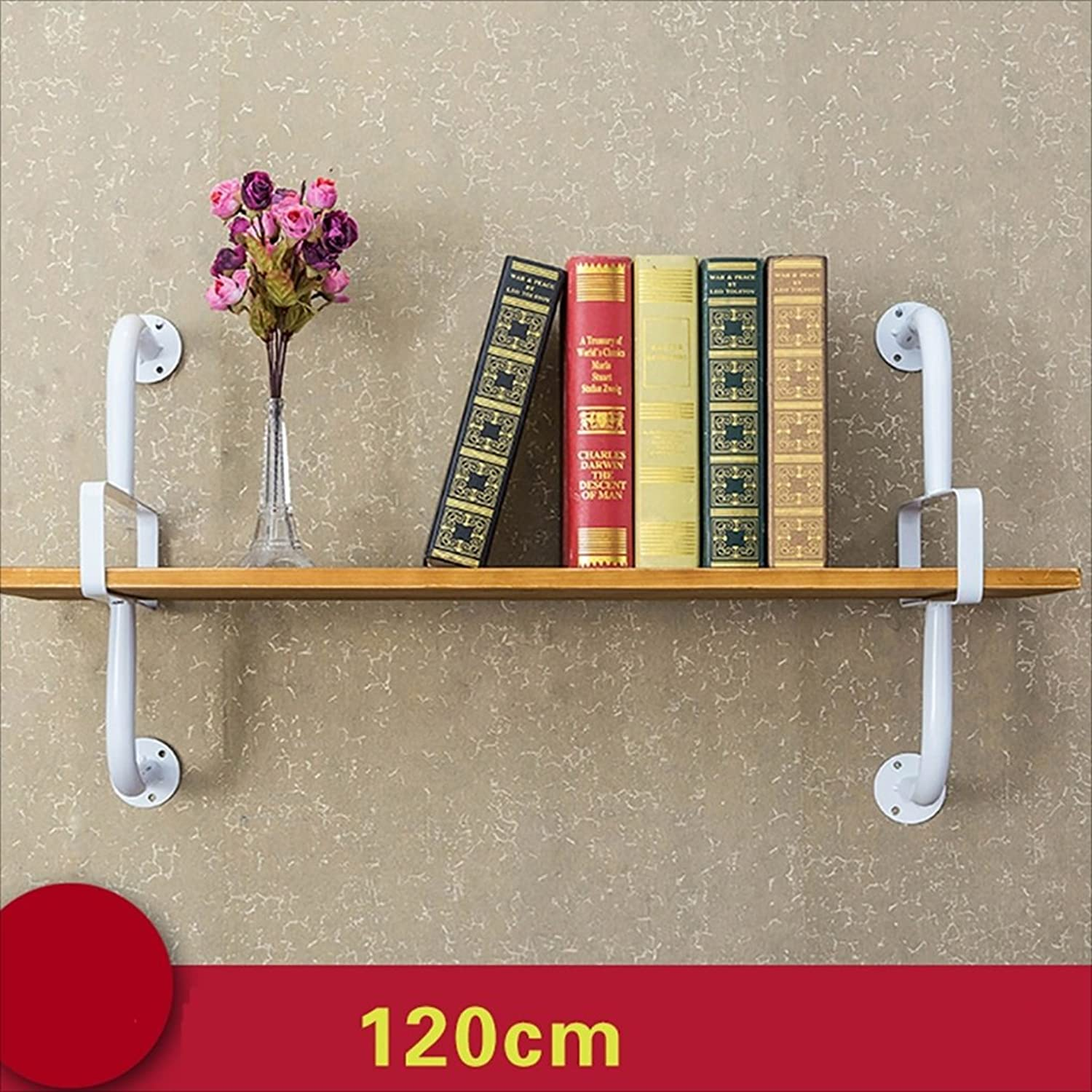 Bookshelf Clothing Store Shelves on The Wall Kitchen Storage Solid Wood Shelves Wrought Iron Paint partition Shelf Wall Units Bookcases (Size   120  50  26cm)