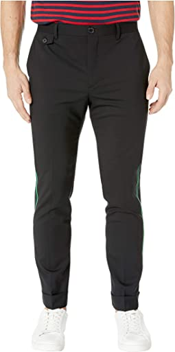 Slim Fit Trousers with Green Side Stripe
