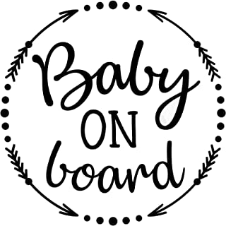 PLU PLU995 Vinyl Aufkleber, Motiv 'Baby On Board', für Autos, LKWs, Vans, Wände, Laptop, 15,2 x 14,7 cm, Schwarz