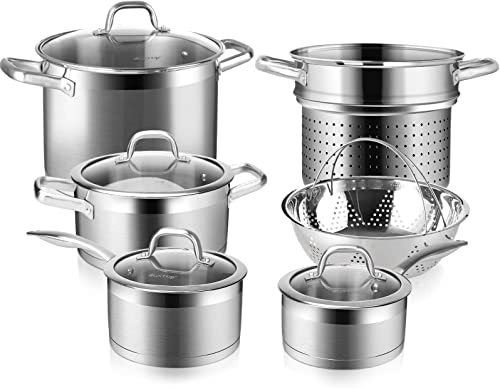 popular Duxtop Professional Stainless 2021 Steel Induction high quality Cookware Set, 10PC Kitchen Pots and Pans Set, Heavy Bottom with Impact-bonded Technology outlet online sale