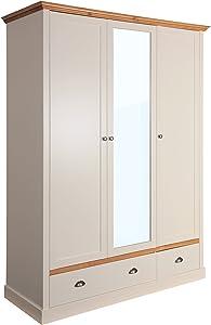 Steens Sandringham Kleiderschrank, 3 Türen, 2 Schubladen, 148 x 192 x 58 cm (B/H/T), teilmassiv, grau