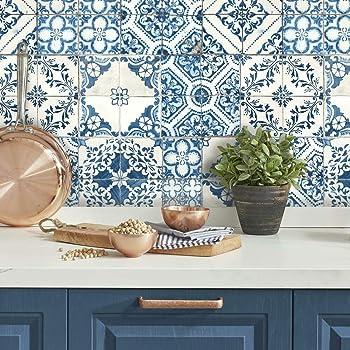 Amazon Com Roommates Mediterranian Tile Peel And Stick Wallpaper 20 5 X 16 5 Feet Blue Rmk11083wp Home Improvement