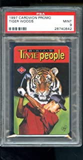 1997 Cardwon Promo Taiwan Tiger Woods Golf Time People ROOKIE Card 9 Graded - PSA/DNA Certified - Autographed Golf Cards