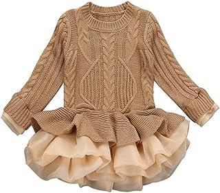 Glaiidy Niños Niñas Suéter De Punto Suéter De Invierno Crochet Tutu Vestido Tops Ropa Suéter Chaqueta Invierno Falda Hinchada