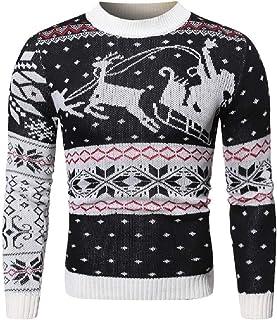 qianqianq Mens Santa Xmas Essential Claus Printing Pattern Knitting Sweatshirt