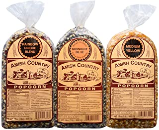 Amish Country Popcorn | 3 - 1 lb. Bag Gift Set | Midnight Blue, Rainbow, & Medium Yellow Kernels | Old Fashioned with Recipe Guide (3 - 1 lb. Bags)