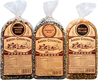 Amish Country Popcorn - 3 (1 lb. Bag Gift Set) Midnight Blue, Rainbow, & Medium Yellow Kernels - Old Fashioned, Non GMO, Gluten Free, Microwaveable, Stovetop and Air Popper Friendly with Recipe Guide