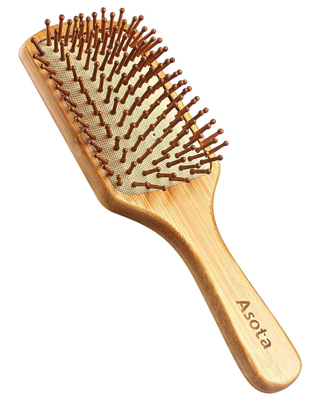 驚慎重未使用Asota 高級木製櫛 ヘアブラシ ヘアコーム 静電気防止 頭皮マッサージ 天然 木の香り 美髪 (大)