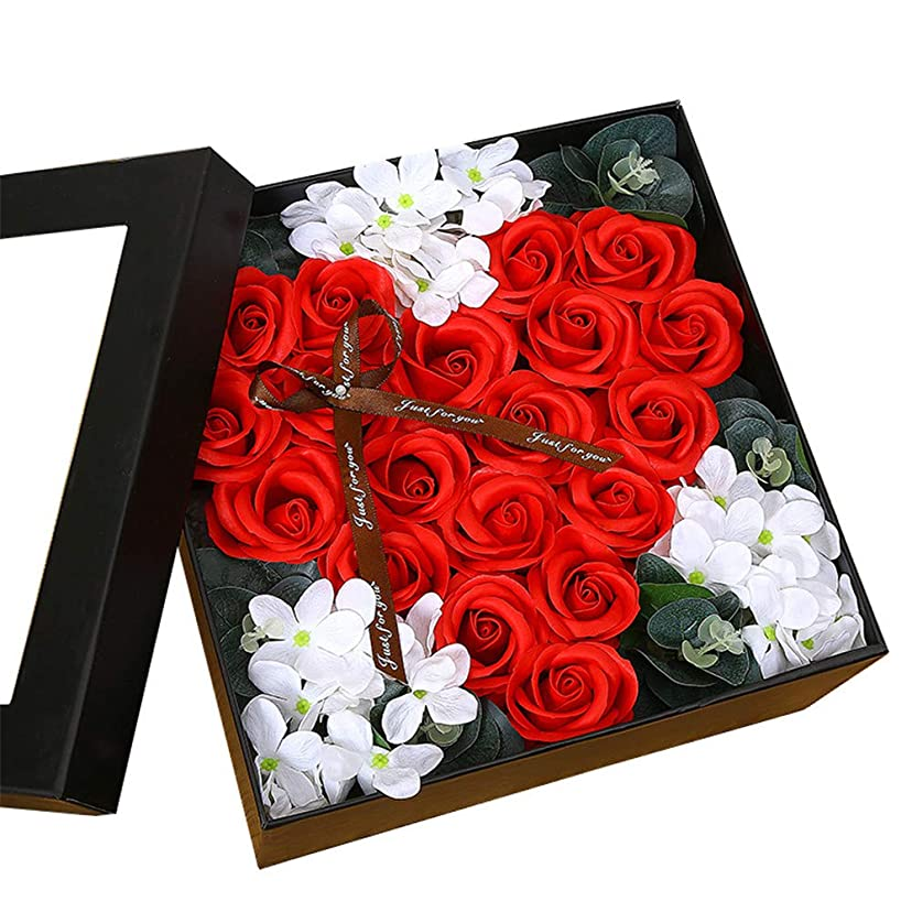 とんでもない退化する連続した生地と花石鹸の花 ギフトソープフラワーローズフラワーバレンタインデーのために不可欠ガールフレンド記念日誕生日母の日 (色 : Red square box)