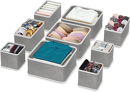 RenFox Organisateur de Tiroir, Boîte de Rangement Tissus Pliable pour sous-vètements Soutiens-Gorge Chaussettes Crava...