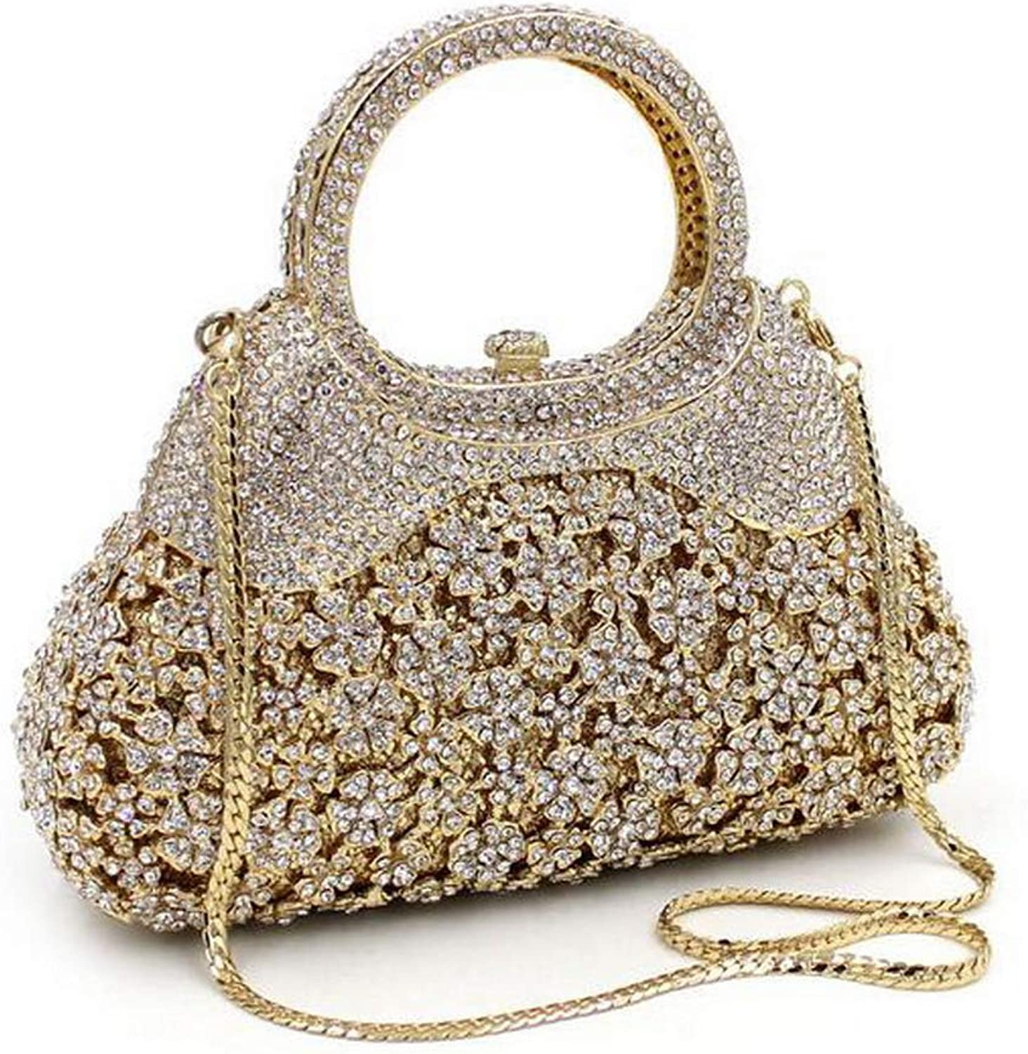 Classic Floral Evening Bag Sparkling Rhinestone Lady Clutch Purse Diamond Party Shoulder Bag for Wedding