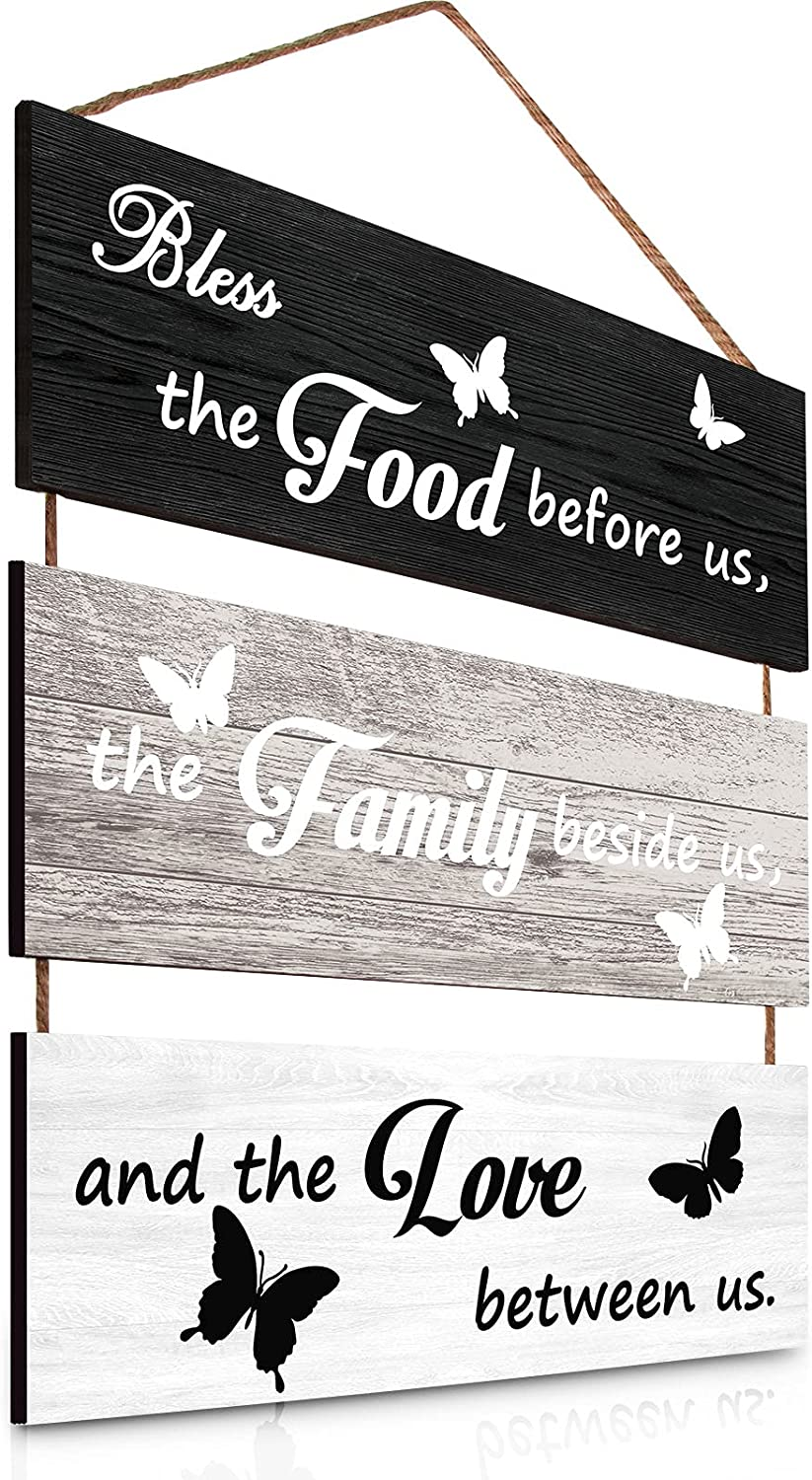 Jetec Bless Hanging Wall Sign Wood Rustic Bless Sign Wooden Bless Sign Hanging Wall Sign Hanging Wall Decoration Vintage Family Food Love Sign Kitchen Sign for Dining Room, Bedroom Home Decorations
