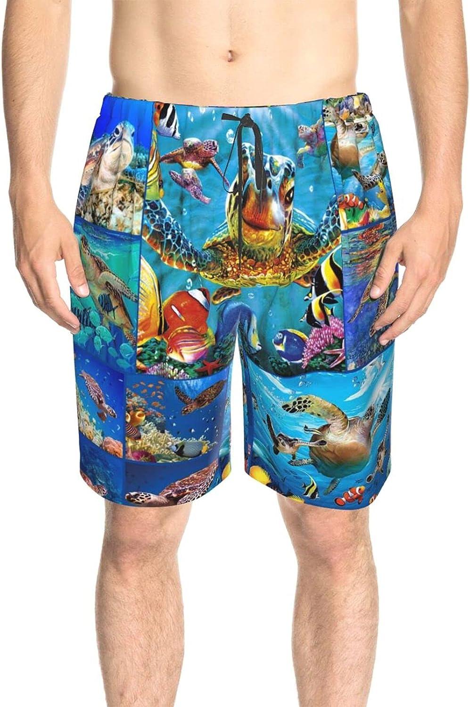 Mens Swim Trunks Sea Turtle World Beachwear Board Shorts Fast Dry Fashion Athletic Swimwear Shorts with Pockets
