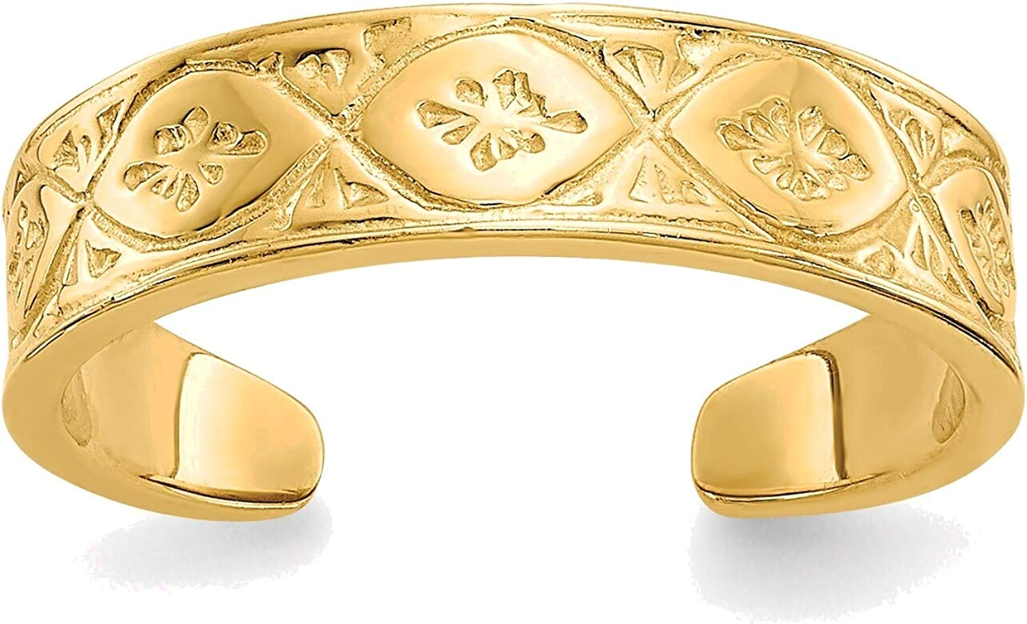 Bonyak Jewelry Polished Wave with Flower Center Toe Ring in 14K Yellow Gold in Size 11
