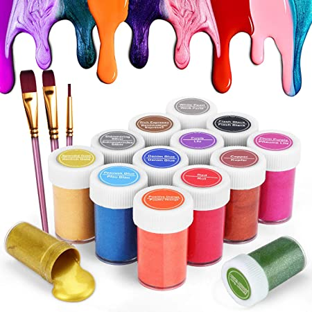 Gifort Peinture Acrylique Métallique (20 ML), Kit de 14 Couleurs Peintures Non Toxique avec 3 Pinceaux, Riches en Pigments, pour Artistes Enfants, Idéal pour la Peinture sur Toile et l'artisanat