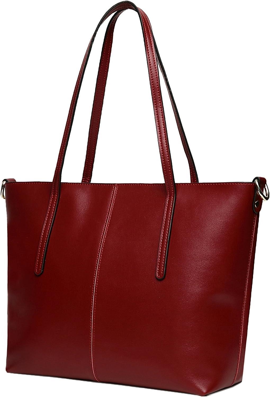 Obosoyo Women's Handbag Genuine Leather Shoulder Bags Tote Bags Wine red
