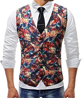 MU2M Men Slim Fit Hipster Paisley Floral Single Breasted Suit Tuxedo Waistcoat
