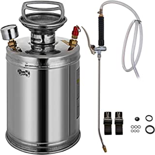 Happybuy Stainless Steel Sprayer 1 Gallon Steel Hand-Pump Sprayer with 3.3-inch Reinforced Hose Garden Sprayer for Home Gardening and Ground Cleaning