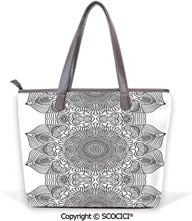 SCOCICI Satchel for Women Eiffel Tower with Blooming Trees Historic Paris Landm
