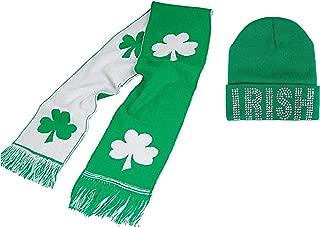 St Patricks Irish Bling Beanie Hat & Shamrock Scarf - 2 Pack Green